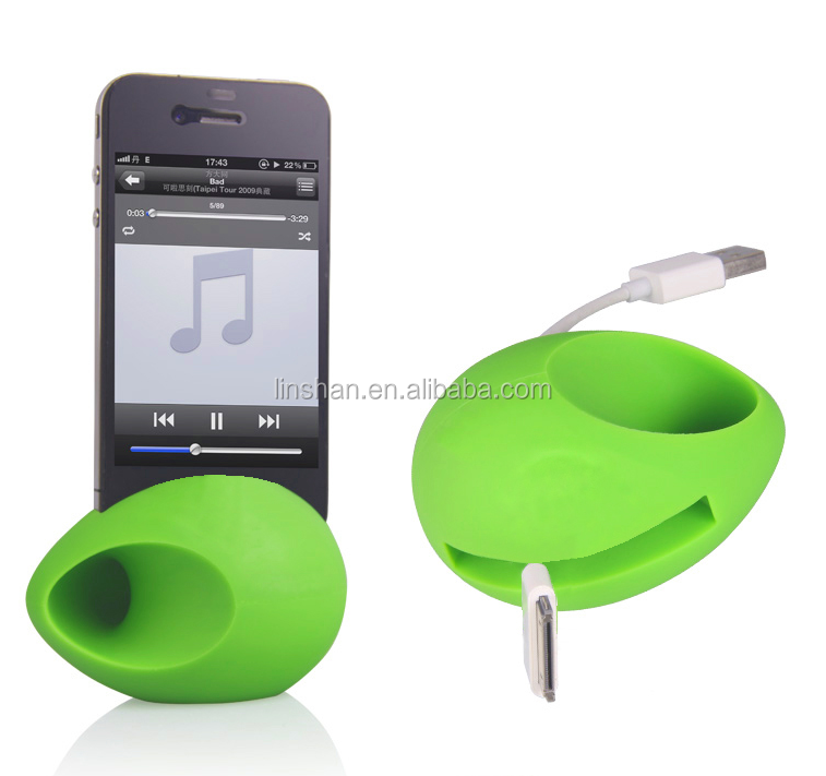 100% Silicone Audio Stander Egg Shape Silicon Horn Stand Amplifier Speaker for iphone 5 5S