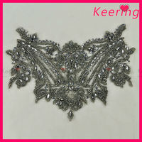Wholesale gun color embroidered beaded stone applique WRA-481