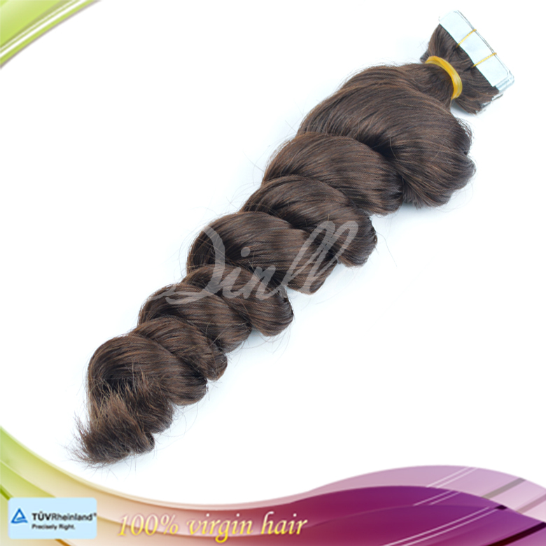 Factory wholesale high quality 100% virgin Brazilian loose wave pu tape hair extensions
