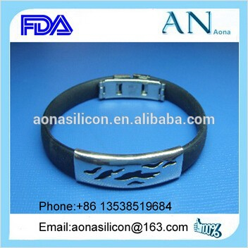 Dongguan Factory Wholsale Silicone Rubber Bracelet with Metal