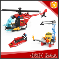 Educational 197 pcs fire man series helicopter building block toy with yacht