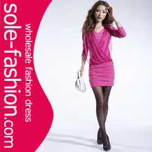 Promotional fashion plum pictures office dress for ladies