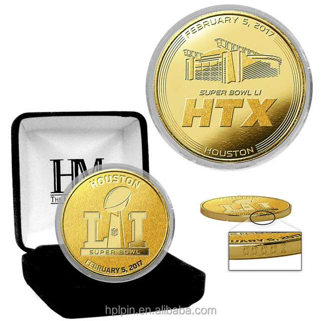 2018 Super Bowl LLC 1.75inch gold football game coin in acrylic box