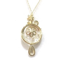 Fashion Necklace Design Flower shape Zircon Diamond silver blank Pendant base wholesale