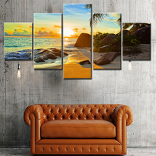 Hot Sale Modern Mountain And River Landscape Canvas Painting 5 Pieces Wall Art Spectacular Sunshine Wall Picture For Living Room