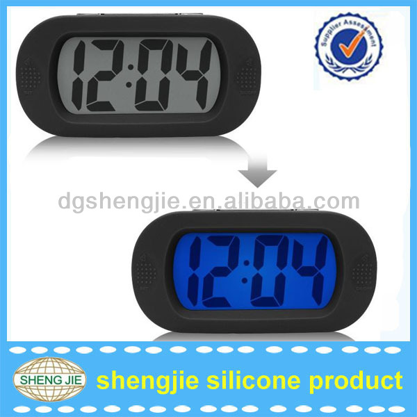 LCD Large Simple Display Blue Cube Snooze LED Digital Desk Alarm Clock