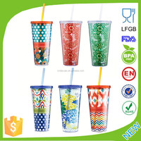 24oz High Quality Food Grade Double Wall Plastic Straw Cup with Bpa Free