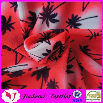 90 nylon 10 spandex stretch coconut tree print net fabric
