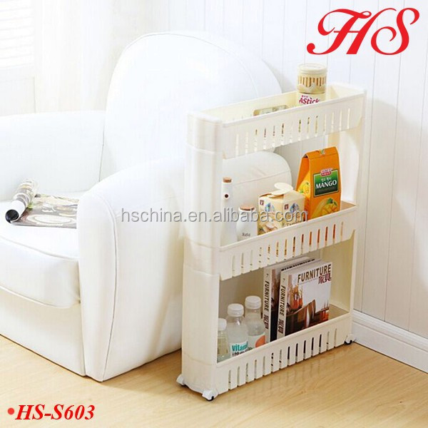 Movable 3tiers pp multi storage living room corner shelf