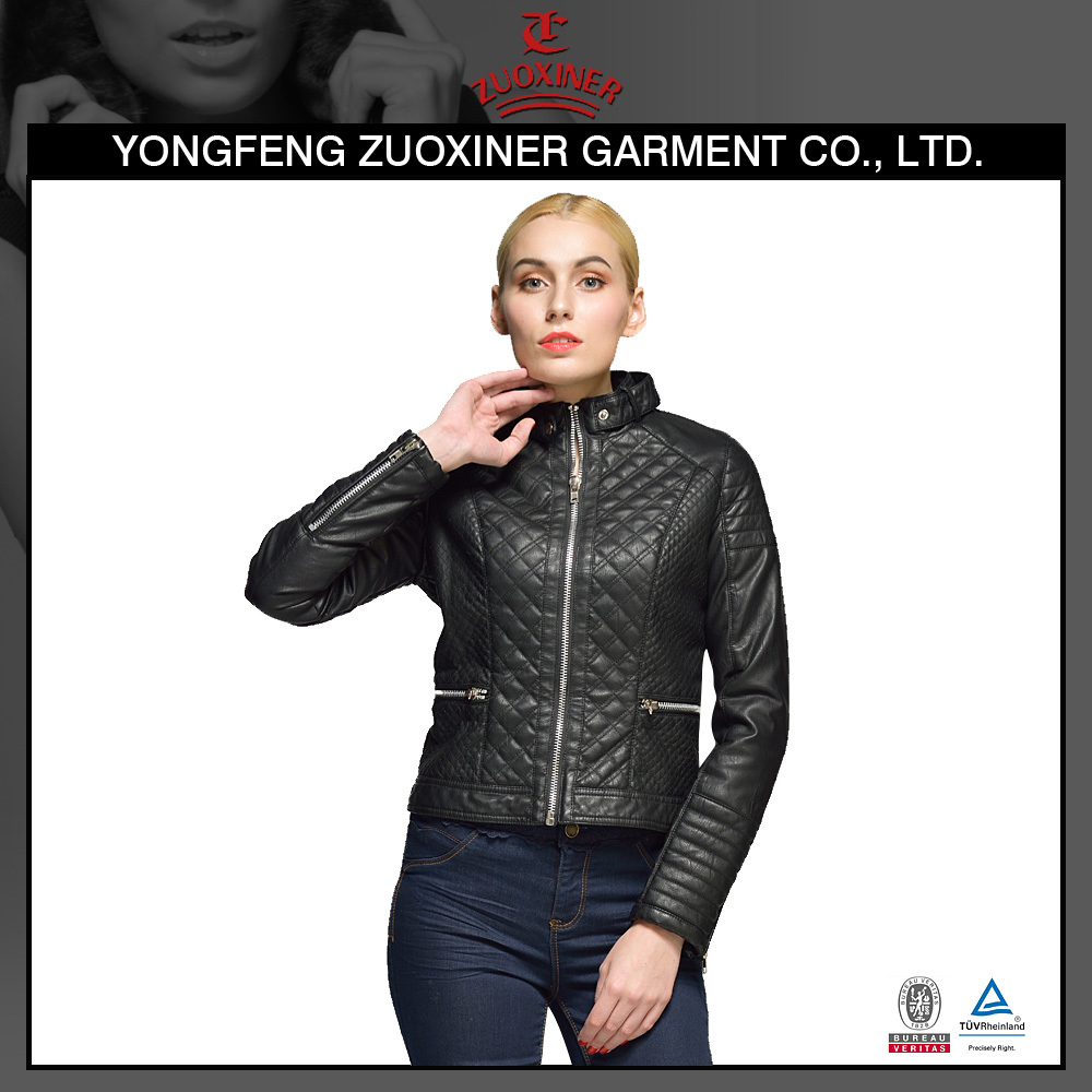2017 OEM latest design stitching european motorcycle woman cheap fux leather jacket