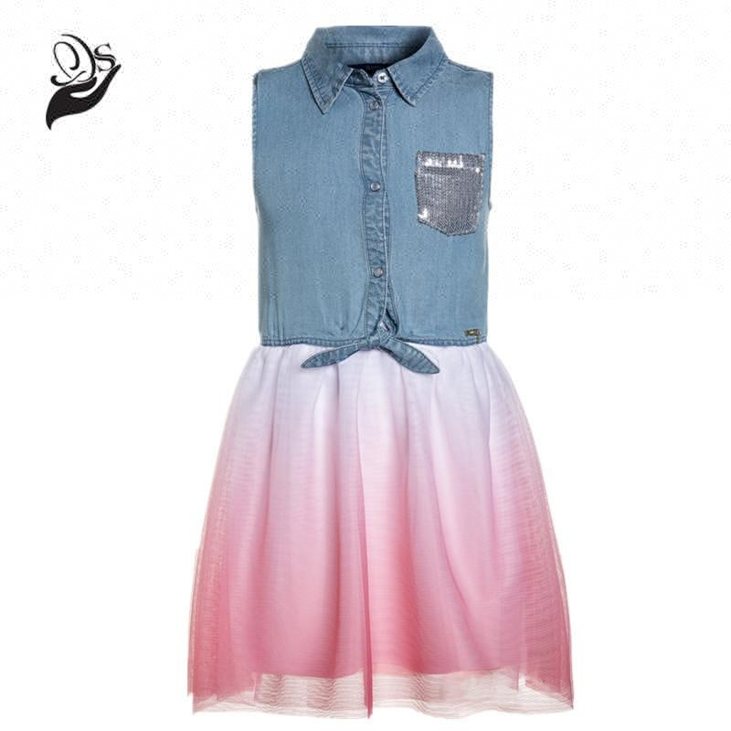 Fake two pieces baby girls gradient underskirt cotton denim dress