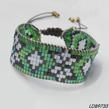 Traditional Huichol Native American seed beads adjustable Hippie cuff bracelet