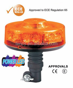 LED Mini Light bar (KF-MINIBAR-35,Amber Cover),With ECE R65 Certificate,Round Beacon,12-24V,Flexible Din Pole