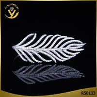 Value 925 silver jewelry long leaf zircon ring jewelry micro pave carving jewelry wholesale