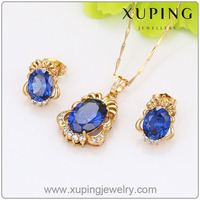 2016 Xuping Summer Fashion Big Crystal Earring Necklace Jewelry Set, Wholesale Gold Plated Color Stone Jewelry