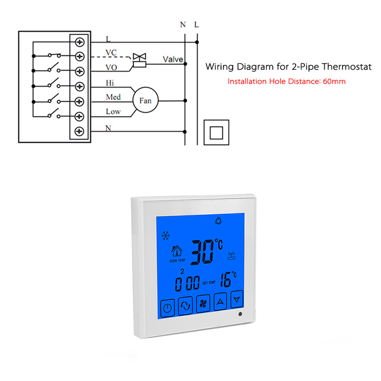 air conditioner temperature controller remote LCD Touch Screen Fan Speed Control Room Thermostat