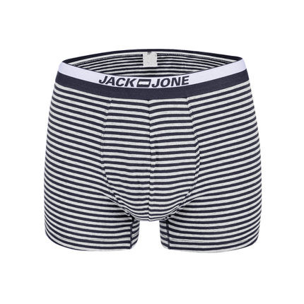 Oem Service Supplier Men's Cotton Sports-Inspired Stripe Printed Long Boxer Brief Underwear without Open Fly