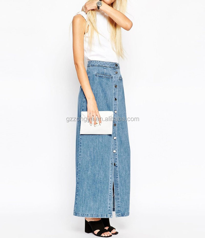 Button Front In Mid-Wash Blue Maxi women wholesale long denim skirts