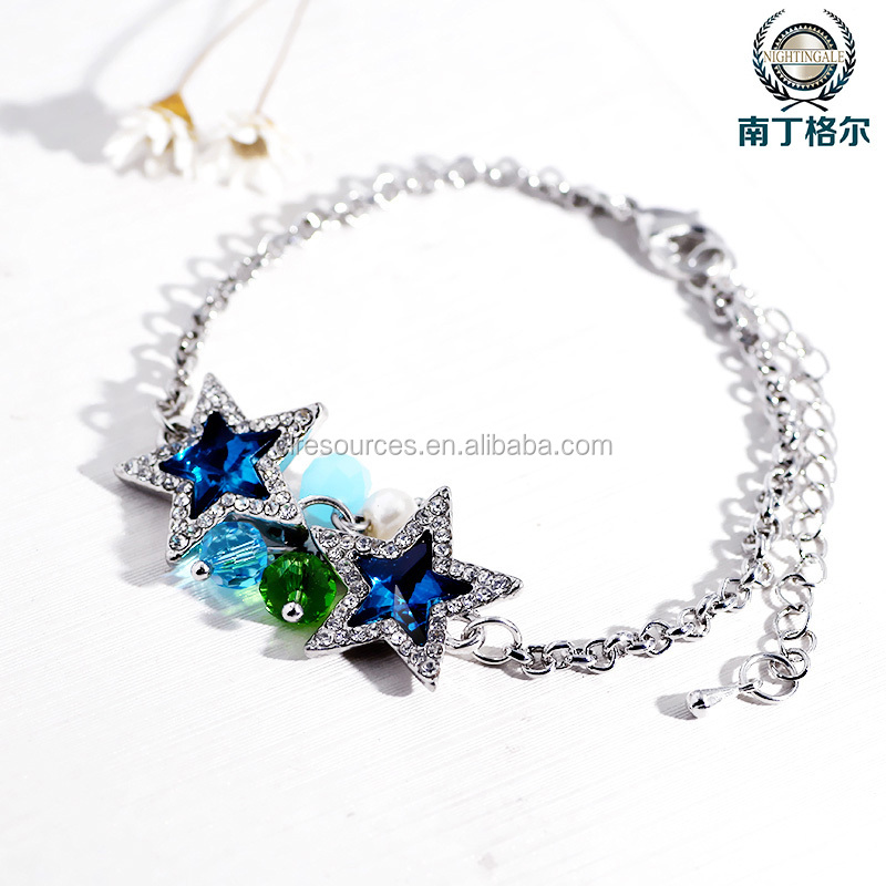2016 hot sell fashion real gold platinum glass crystal and shell bead bracelet