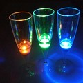 Popular customized colorful led champagne flute glass