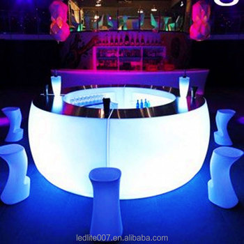 plastic illuminted color changing led bar table/led bar counter/led furnitures
