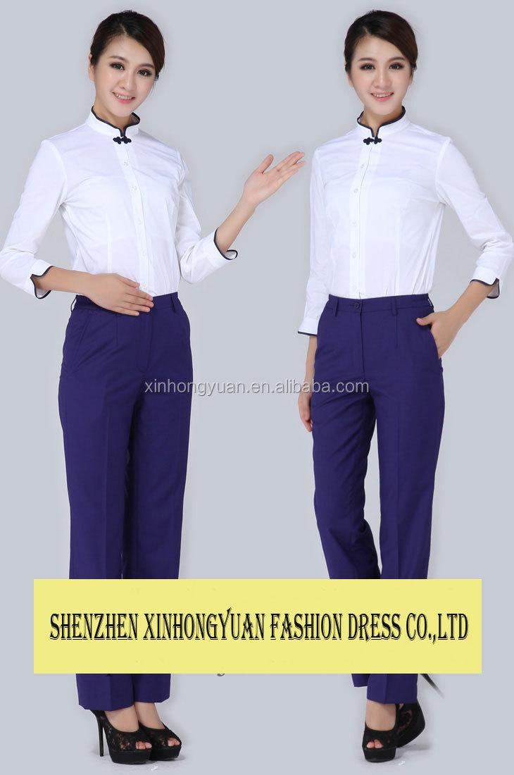 2014 new design modern restaurant uniform for female for Restaurant uniform shirts wholesale