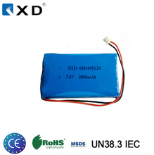 Approved IEC62133 2000mah 7.4v rechargeable lithium polymer battery