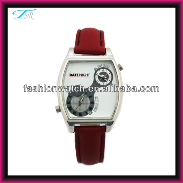 2013 china online shopping factory alloy case and PU band large orders date two time ladies fashion leather belt watch