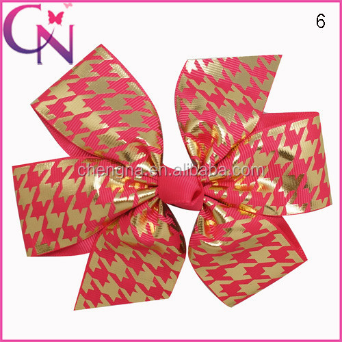 "Wholesale Boutique 5"" Lettering Gold Houndstooth Grosgrain Ribbon Pinwheel Hair Bow"