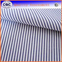 Navy Stripe Yarn Dyed Cotton Polyester Spandex Fabric