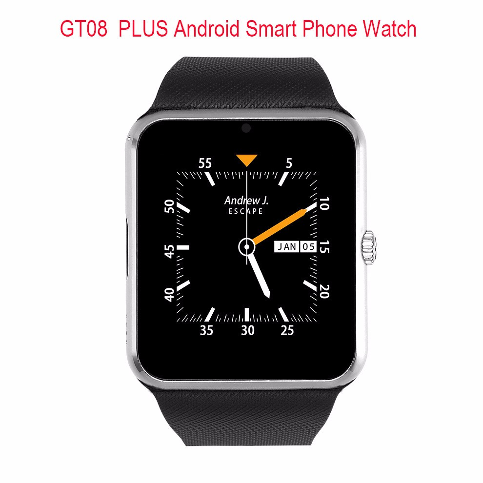 2017 New Android 5.1 3G network Smart watch phone Dual Core GT08 plus Android watch with SIM slot