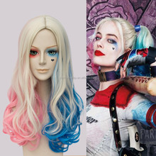 High Quality Movie Batman Suicide Squad Harley Quinn Curly Synthetic Ponytail Party Wig