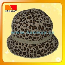 women's leopard cheetah print canvas fashion bucket hat with jute braid band and flat bow trim