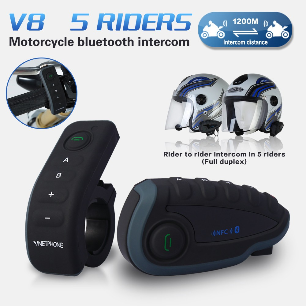 V8 Wireless Hands free Walkie Talkie Bluetooth Motorcycle Helmets for 1200m 5 riders Full Duplex Talking with remote control