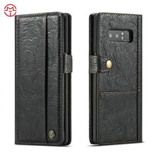 CaseMe Top Quality PU Leather Flip Wallet Book Stand Card Slot leather back stand cover holder case for Samsung galaxy Note 8