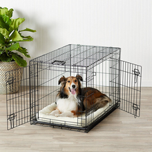 Iron Dog Cage,Single Door&Double Door Folding Metal Dog Crate with Paw Protector,Floor Protecting