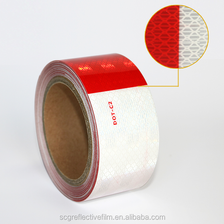 Hefei Factory Red and White Elastic Reflective Tape for Trucks