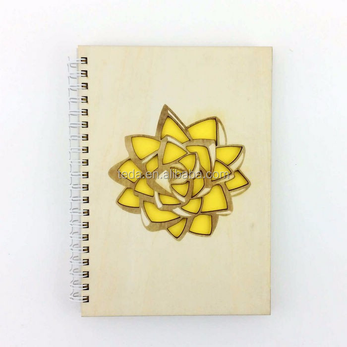 Custom gift wooden cover notebook