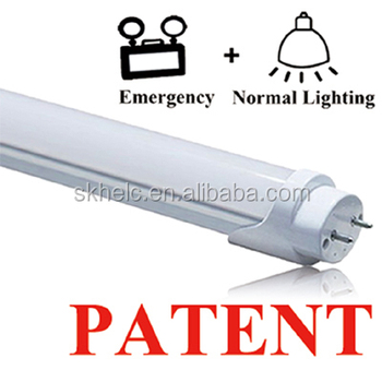 LED emergency tube with rechargeable battery T8 direct replacement, tube light up automatically