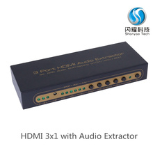 HDMI 3 port switcher audio extractor Converter,4K ARC Audio EDID setting 5.1CH 1.4 hdmi switch 3x1,three in one out hdmi swtich