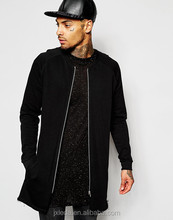 Super longline black zip bomber jacket men