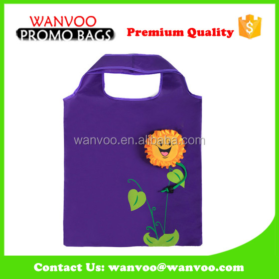 Purple Collapsable Fruit Shopping Bag 210T Nylon Tote Bag