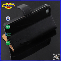 High Quality BLACK Leather Slim Thin Wallet MAGNETIC Book Case for iPhone 5 5s laudtec