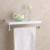 Elegant white bathroom design wall mounted ABS shelf with stainless steel towel bar