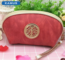 Kamus brand Hot Selling Waterproof PU Leather women promotion makeup cosmetic bag leather zipper pouch