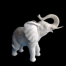 Indoor hand carved small white marble animals statues of elephant