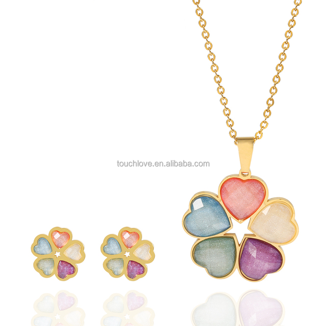 Wholesale Fashion Gold Jewelry Set Multicolor Heart Flower Earring And Necklace Stainless Steel Plant Jewelry Set For Woman