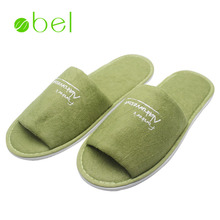 Cheap wholesale custom branded eva slipper terry towel indoor open toe disposable hotel bathroom slippers