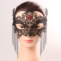New black lace red crystal halloween party mask