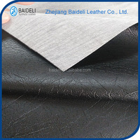embossed pattern knitted backing leather fabric for sofa furniture